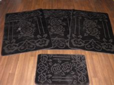 ROMANY WASHABLE TRAVELLERS MATS SETS 4PCS NON SLIP GYPSY ROSE SUPER THICK BLACK